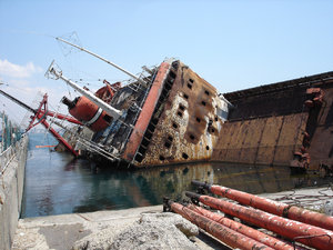 Sunken ship: A ship that lies just off Istanbul