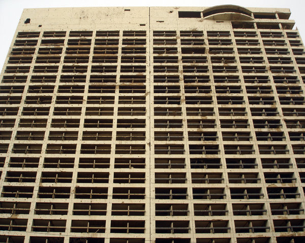 Wish you were here 2: Another shot of the Holiday Inn, Beirut, destroyed in the civil war but still standing