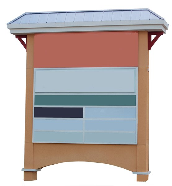 multi-panel monument with roof: free-standing sign used to convey advertising and information.