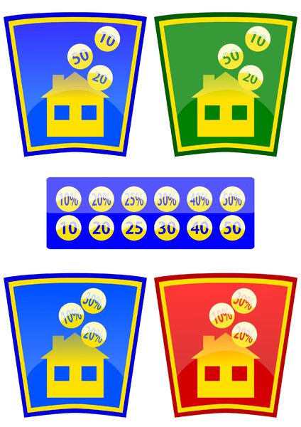 icons: Colored icons with the theme of the house and money