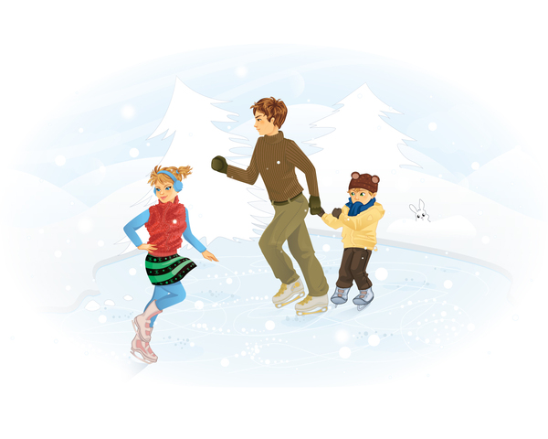 Winter Holiday: Children skating on ice lake.