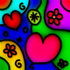 Love Abstract: Stained glass whimsical love heart pattern.