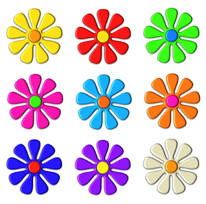 Flower Icons: Simple 3d flower icons.