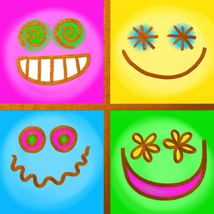 Emoticons: Square happy face emoticons.