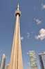 CN Tower: CN Tower dominates landscape. 553.33 m-high observation tower in Toronto, Canada