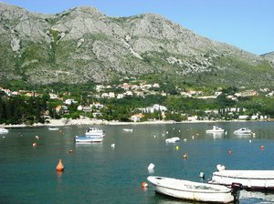 Croatia coastline: Mlini just outside Dubrovnik, View back across the bay