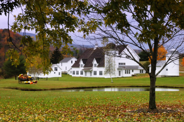 White farm in the fall: A beautiful white farm in New England
