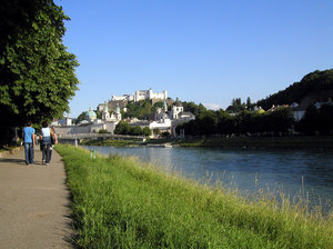 salzburg - city: view to the castle of salzburg beneath the salzach river