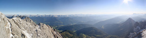 mountain sunset, panorama: sunset at the terrific dachstein glacier in styria - austria
