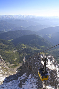 cable car: sunset at the terrific dachstein glacier in styria - austria