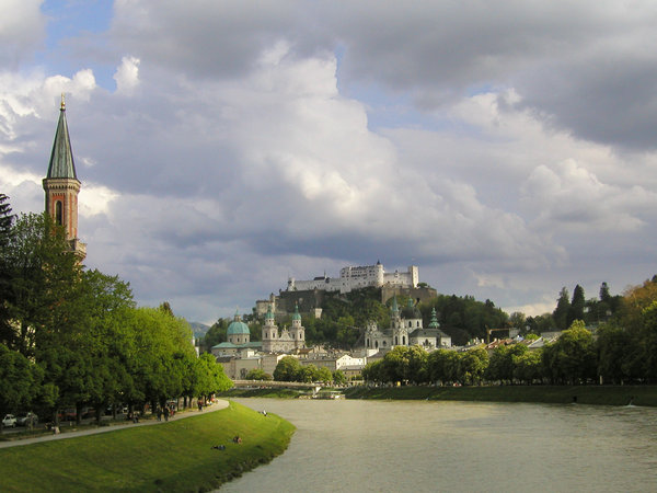 "salzburg: nice view at the ""old town"" and castle of salzburg"