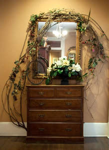 Decorated Hall Mirror: An interesting and inexpensive method of decorating a mirror, in this case for a hall.
