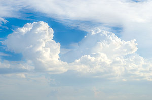 Tybee Summer Clouds: High humidy sky with cumulus clouds in the distance