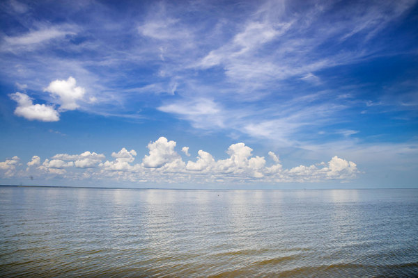 Where ocean meets the sky: shot on coastline of Bull Island, midday in mid August