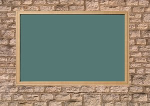 Brickwall: Brickwall with green blackboard