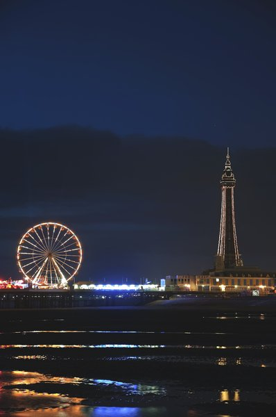 Blackpool Tower: shot on a night shoot at blackpool,with colorfull reflections in the wet sand