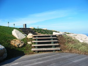 Park wood stairs: Wood stairs placed in Bens Park (Coruña City, Spain). EU