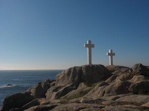 Crosses 4: White crosses in the seashore