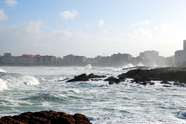 Rough sea 1: Rough sea in Coruña city (Galicia, Spain, EU)