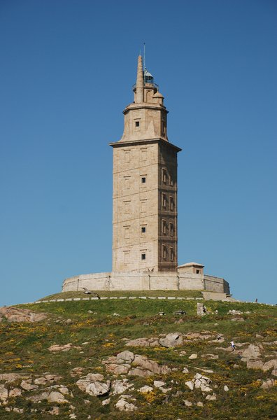 Tower of Hercules 2: Ancient Roman lighthouse. The structure is 55 metres (180 ft) tall and overlooks the North Atlantic coast of Spain. The structure, almost 1900 years old and rehabilitated in 1791, is the oldest Roman lighthouse still used as a lighthouse.