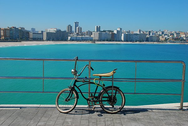Bicycle, ocean & City: Bicycle, ocean in Coruña City. Galicia. Spain, EU