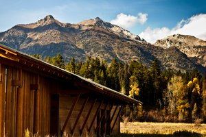 Building with Mountain: Building shadowed by Grand Tetons.