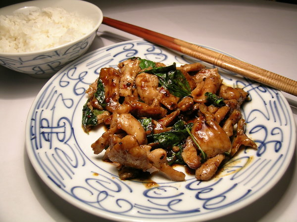 Chicken Basil: Chicken basil and steamed rice