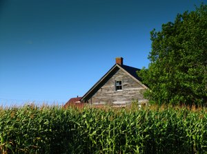 Old abandon  farm house: Shot taken on a very sunny day in St. Benoit, Quebec