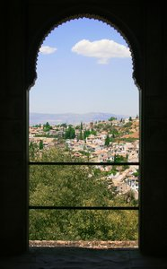 View from window of Alhambra, : Stunning view out of window of Alhambra Palace in Granada, Spain