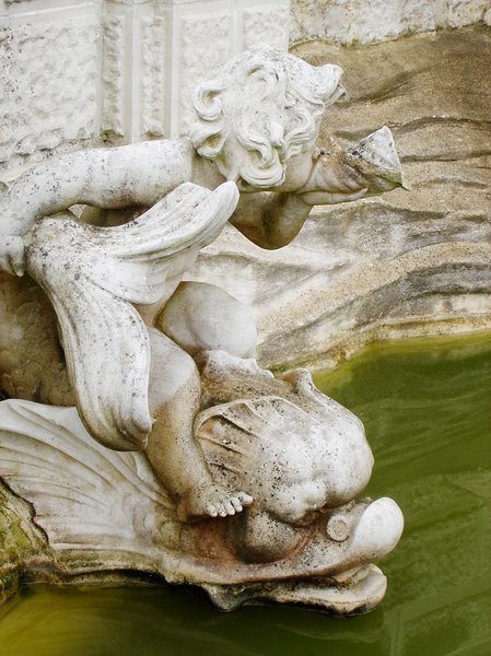 Statue: Fountain detail sculpture found at Hever Castle, Kent