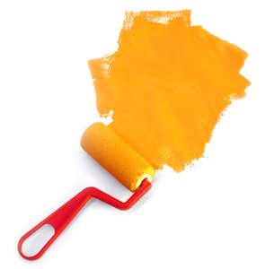 Painting 4: Paint roller and orange paint, on white background.