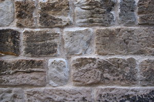 Eroded Sandstone Wall: Old sandstone built in early 19th century Sydney. Located in 'The Rocks' historic district. Australia.