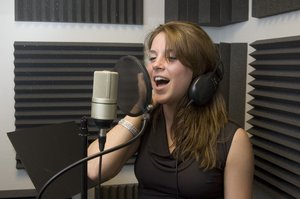 Singer 2: Amy singing in the recording studio