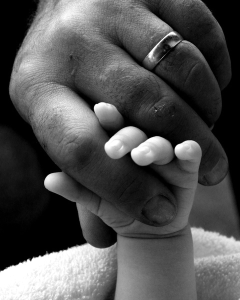 Two Hands 3: Father and new-born son's hands