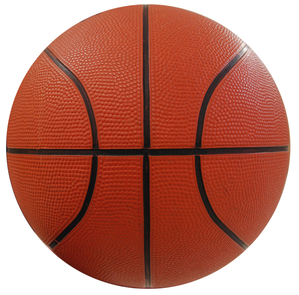 Basketball Cutout: Side view of an isolated basketball.