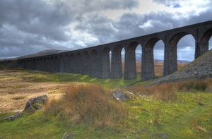 Ribblesdale Viaduct: HDR with 3 handheld shots of the iconic railway viaduct in the Yorkshire Dales.