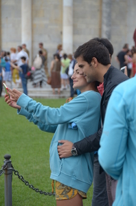 Selfie: One of many couples taking a