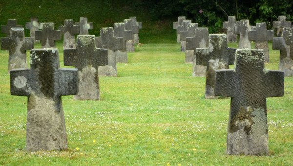 War graves: Unmarked graves at a former concentration camp in Germany.