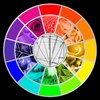 Stylized Color Wheel: Stylized color wheel isolated on a pure black background. Once part of a school assignment, it served a very useful purpose, and I hope you find good use for it too. Basically designed from scratch, where I alternated between food and flora from one color