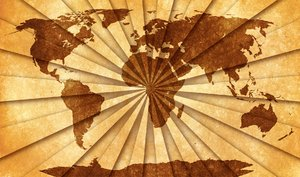 World Grunge Map: Grunge textured world map on vintage paper, with a shaded starburst pattern to create more depth and contrast.