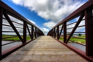PEI Country Bridge - HDR: Wide-angle capture of a country bridge in Prince Edward Island, Canada; more specifically in the town of Saint Peter's Bay.