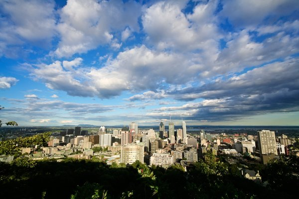 Montreal Cityscape: Wide-angle cityscape of Montreal, Quebec, as seen from Mount Royal.