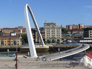 Gateshead Millennium Bridge 1: The Gateshead bank of the river Tyne has been extensively regenerated in recent years, with the Sage Gateshead concert hall, Baltic Centre for Contemporary Art, Gateshead Millennium Bridge, Hilton Hotel and a number of other developments.The 'blinking eye