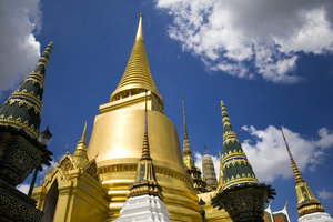 Spires of Bangkok: Spires of the Buddhist temple at The Grand Palace, Bangkok