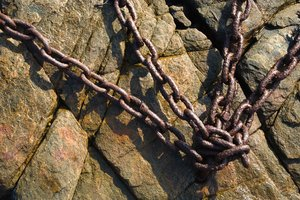 Rusty Chains: Rusty chains on rock surface.
