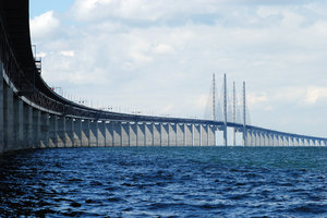 Oresund Bridge 2: Oresund bridge between Denmark and Sweden, completed july 2000. The bridge has one of the longest cable-stayed main spans in the world at 490 metres. The height of the highest pillar is 204 metres.