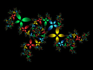 Fractal Flowers: Fractal created using ChaosPro and kcc-CarlsonOrbitTraps colouring algorithms.My other fractals:http://www.sxc.hu/browse. ..