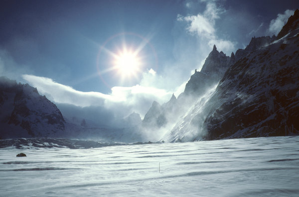 The Vallée Blanche: The Vallée Blanche, Mer de Glace, Chamonix, France. Photo taken some years ago with Contax T with Kodachrome positive film, scanned with Nikon Super Coolscan 5000. My best skiing adventure ever! Also check out http://www.sxc.hu/photo/6 ..