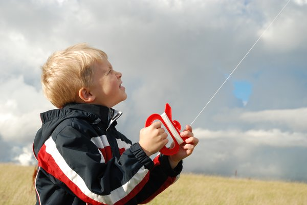 Kite Boy 5: Six years old boy flying a kite.