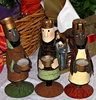 Christmas colours: wise men in table setting nativity scene